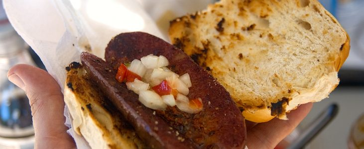 Choripán Argentino o sanduíche da argentina