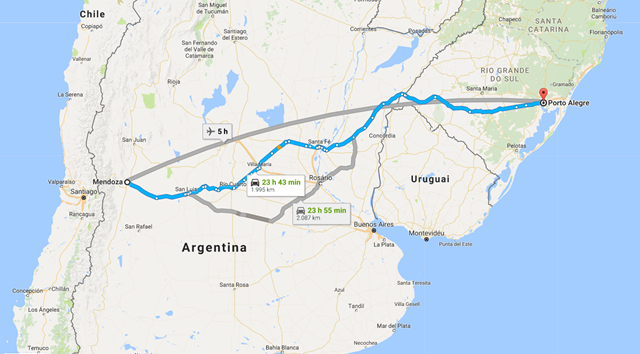 Como Chegar de Carro Porto Alegre para Mendoza Argentina